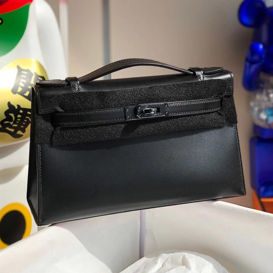 2021年刻印 Z 刻印 Hermes MiniKelly Pochette 22cm Box 89 Noir 黑色 黑扣