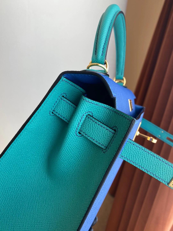 香港九龍城區何文田 Hermes Kelly 28cm HSS Epsom I7 琉璃藍 U1 維羅斯納綠