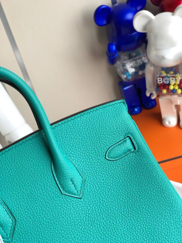 愛馬仕鉑金包定制多少錢 Hermes Birkin 25cm Togo U1 維羅納綠 Vert Verone