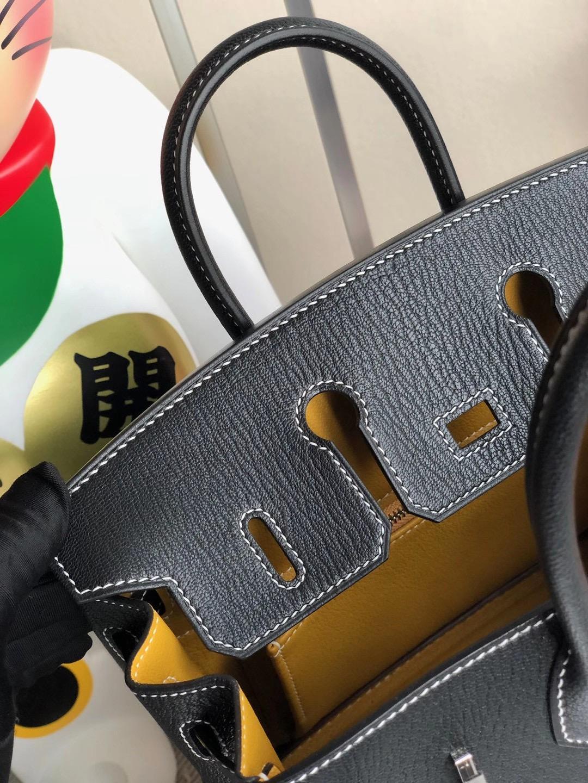 Hermes Birkin 25cm Chevre 山羊皮 89 Noir 黑色拼 9D Jaune Amber 琥珀黃 馬蹄印