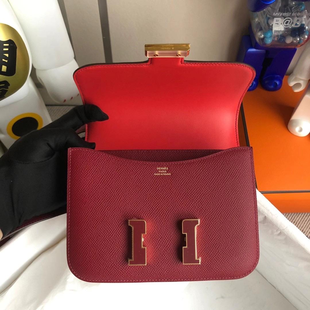 Hermes Mini Constance Epsom K1 Rouge Grenat 石榴紅拼T5 蜜桃粉 Rose Jaipur