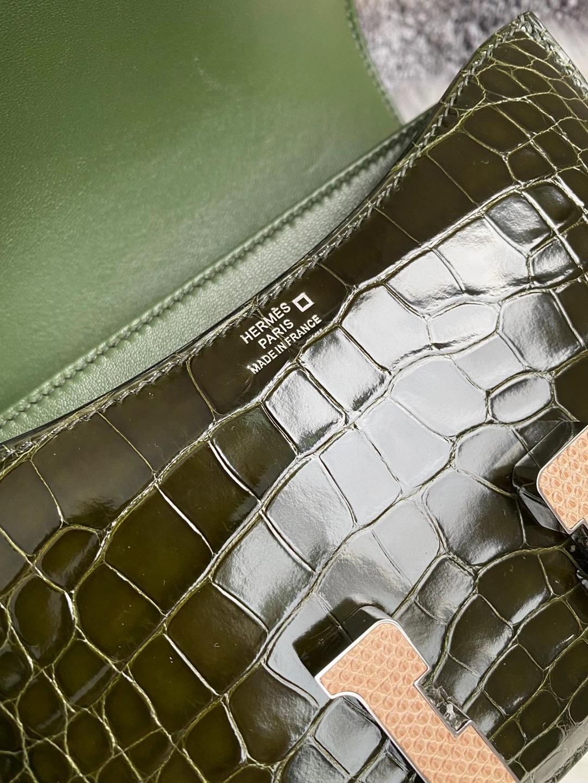 Hermes Constance Mini 亮面美洲鱷魚6H Olive green橄欖綠配蜥蜴扣