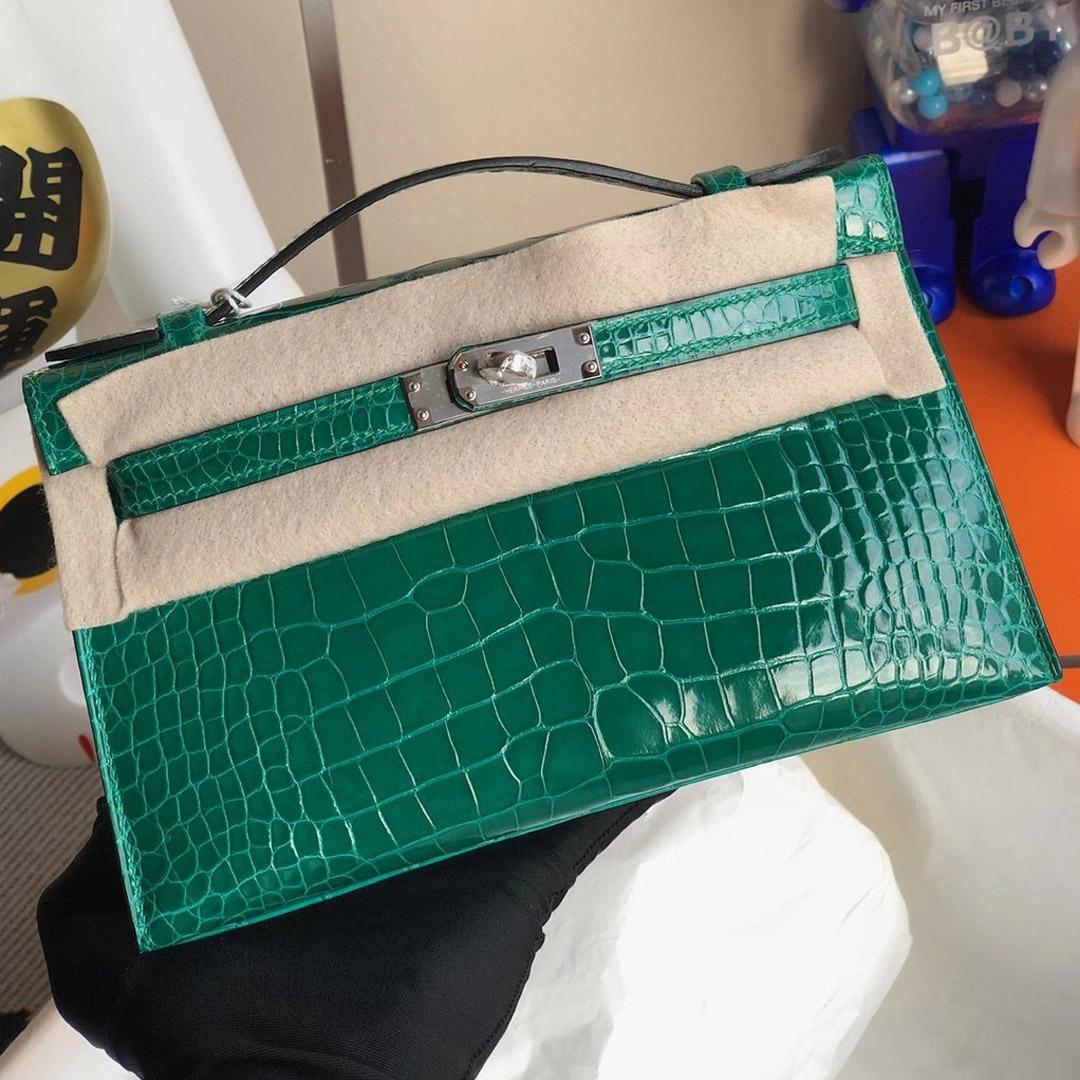 Hong Kong South Hermes MiniKelly Pochette 6Q Vert Emeraude Alligator Crocodile