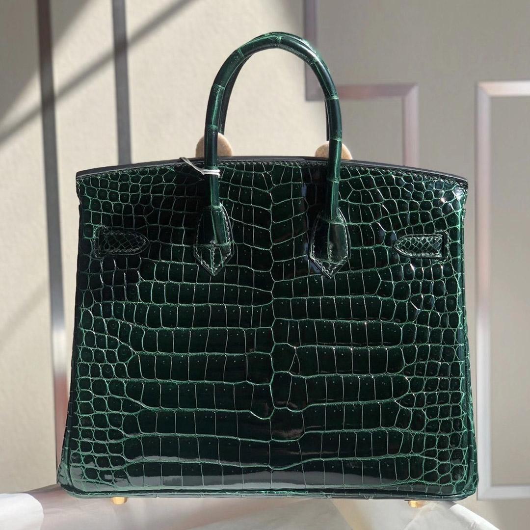 愛馬仕鉑金包價格 Hermes Birkin 25cm 倒V供珠灣鱷 Shiny Porosus Crocodile 67 Vert Fonce 祖母綠