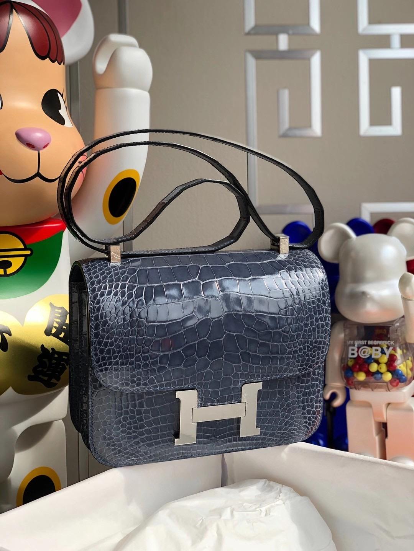 Hong Kong Hermes Constance 24cm 亮面方块 美洲鳄鱼 N7风暴蓝 Blue Tempete