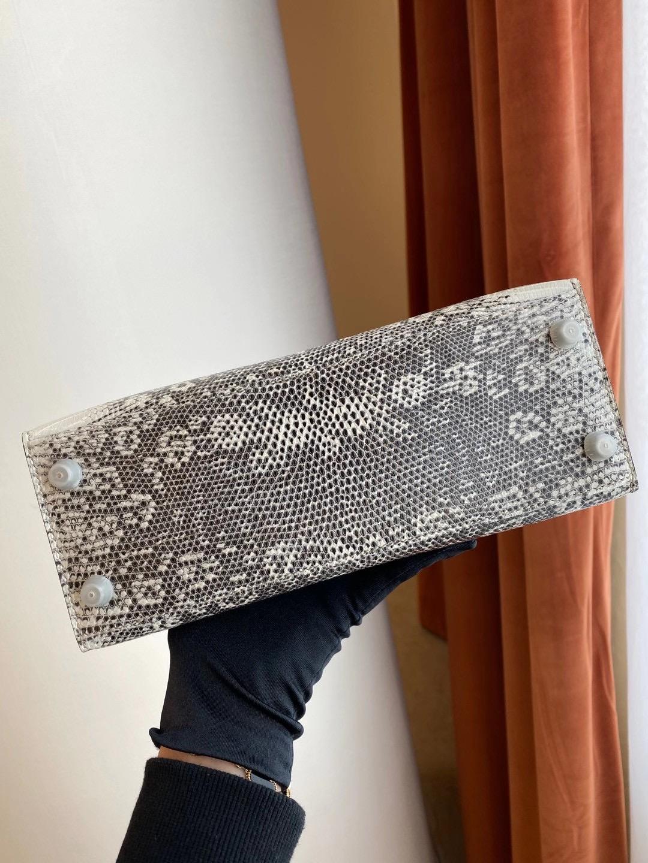 Hermès Ombre Shiny Varanus Salvator Lizard Kelly 25cm Palladium Hardware