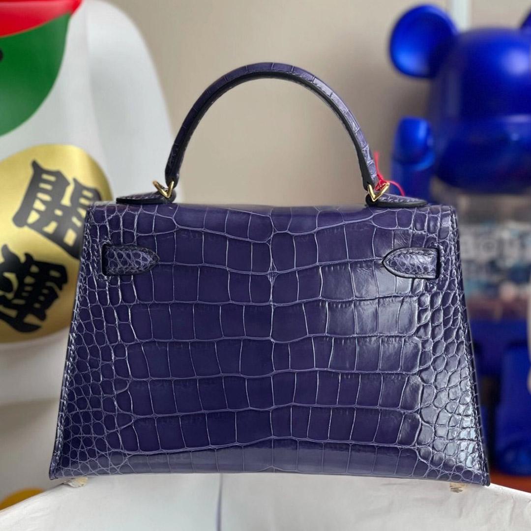 Hong Kong Hermes Kelly Mini 2代 美洲鱷魚 M3 墨水藍 Blue Encre Shiny Alligator Crocodile