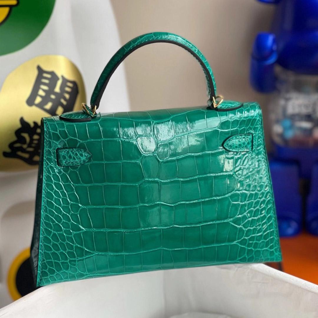 Hong Kong Hermes Kelly Mini 2代 6Q 翡翠綠 Vert Emeraude 亮面方塊 美洲鱷魚