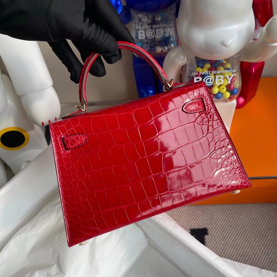Hong Kong Hermes Kelly Mini 2代 CC95 法拉利紅 Braise 亮面方塊 美洲鱷魚