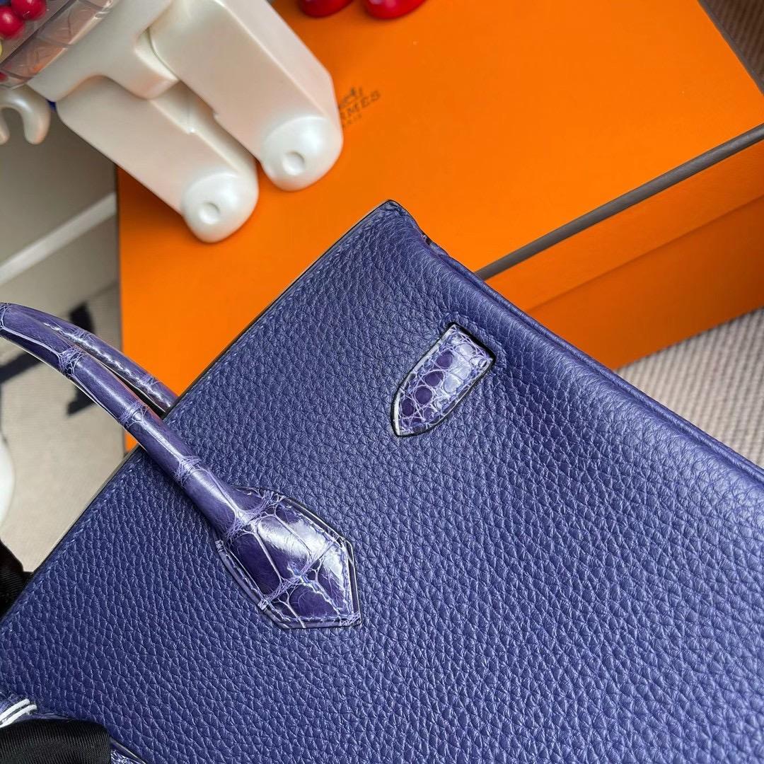 Hermes Birkin 25cm Touch Togo 拼 亮面美洲鱷魚 M3墨水藍 Blue Encre 銀扣
