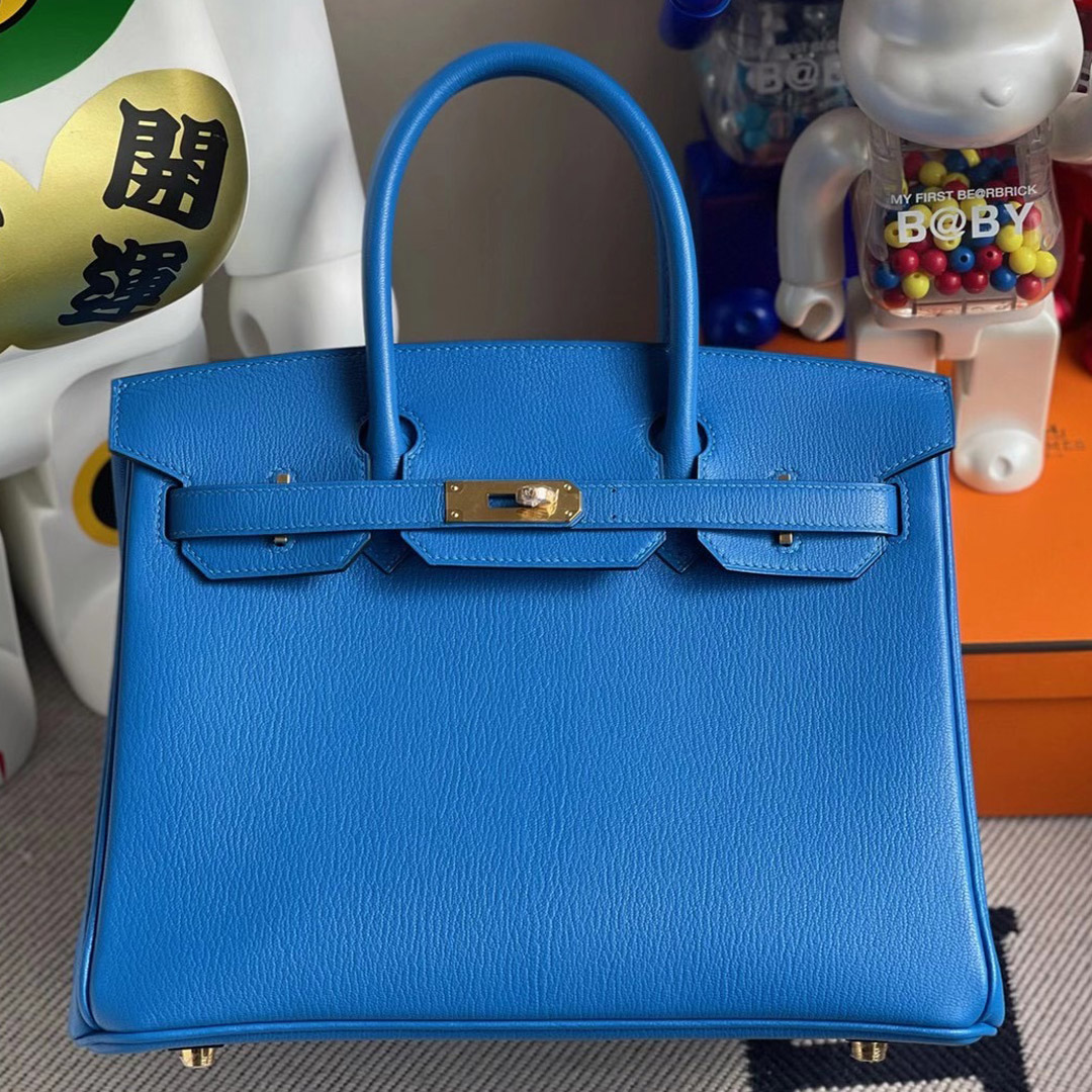 Hong Kong Hermes Birkin 30cm Chevre 7T Blue Electric 電光藍 內拼 Q5 Rose casaque