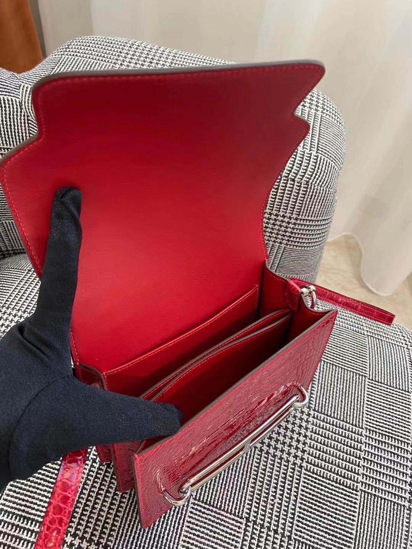 Hermes Roulis MINI bag polished Niloticus crocodile Q5 Rose casaque 國旗紅