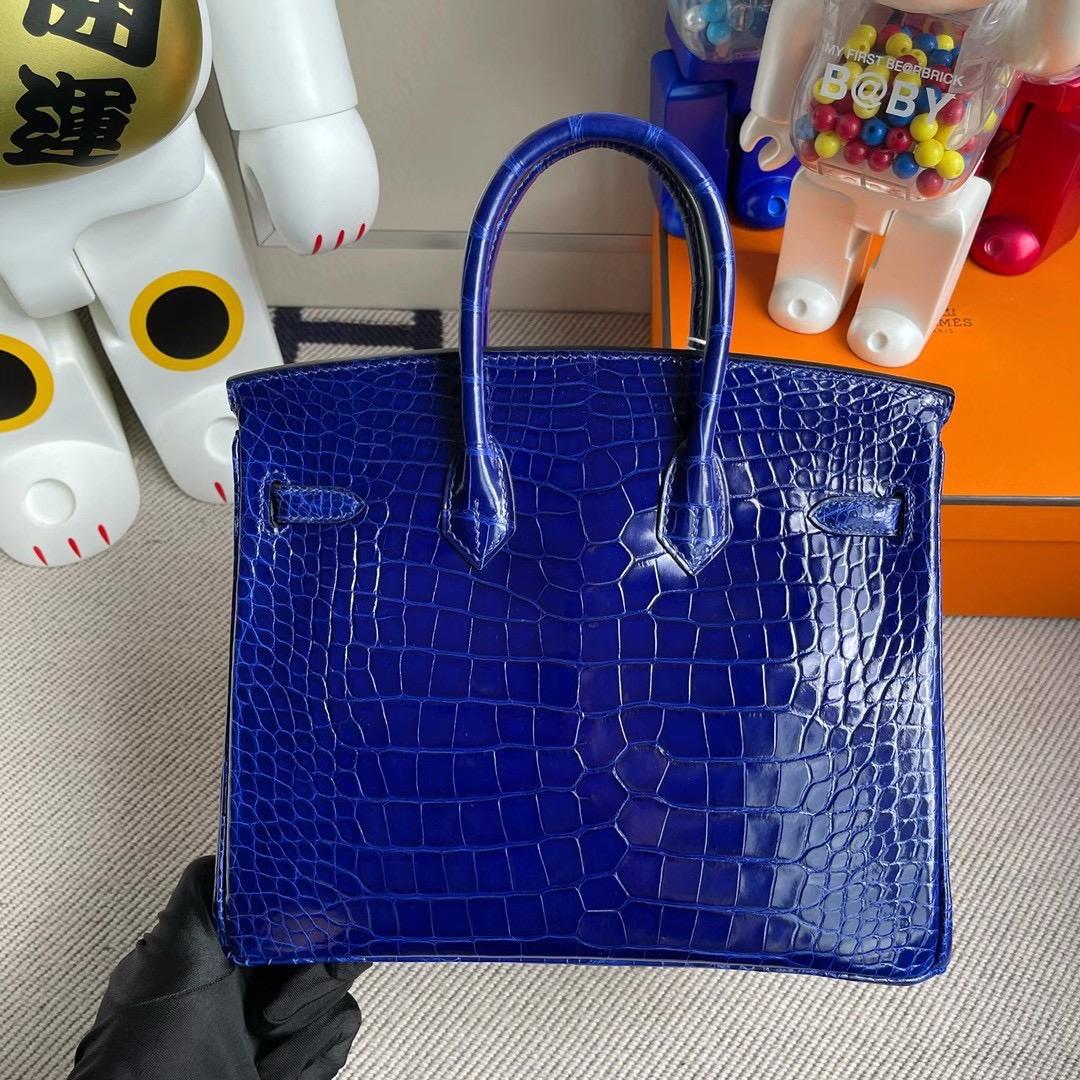 愛馬仕鉑金包價格及圖片 Hermes Birkin 25cm 1P Blue Colvert 7T Blue Electric 美洲鱷魚