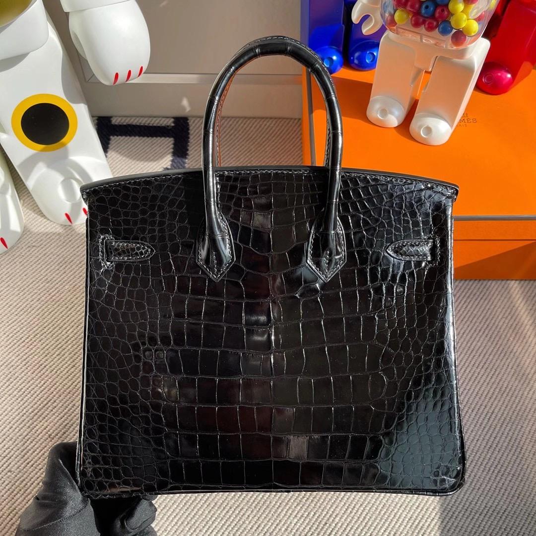 愛馬仕鉑金包圖片大全 Hermes Birkin 25cm 亮面方塊美洲鱷魚 CC89 黑色 Noir