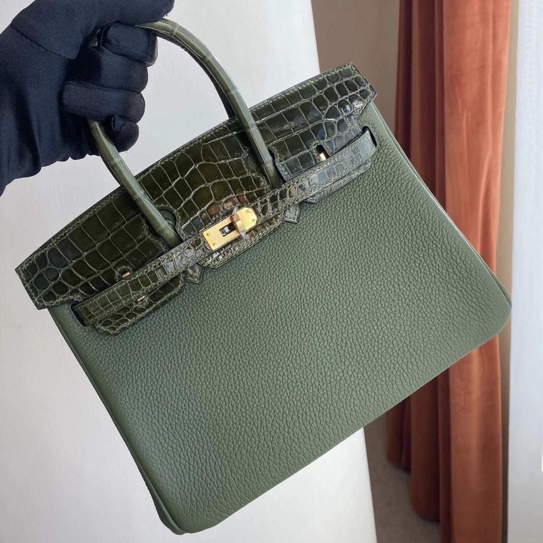 Hermès Birkin 25cm Touch V6 Cacncpee 叢林綠 拼 6H Olive green 橄欖綠