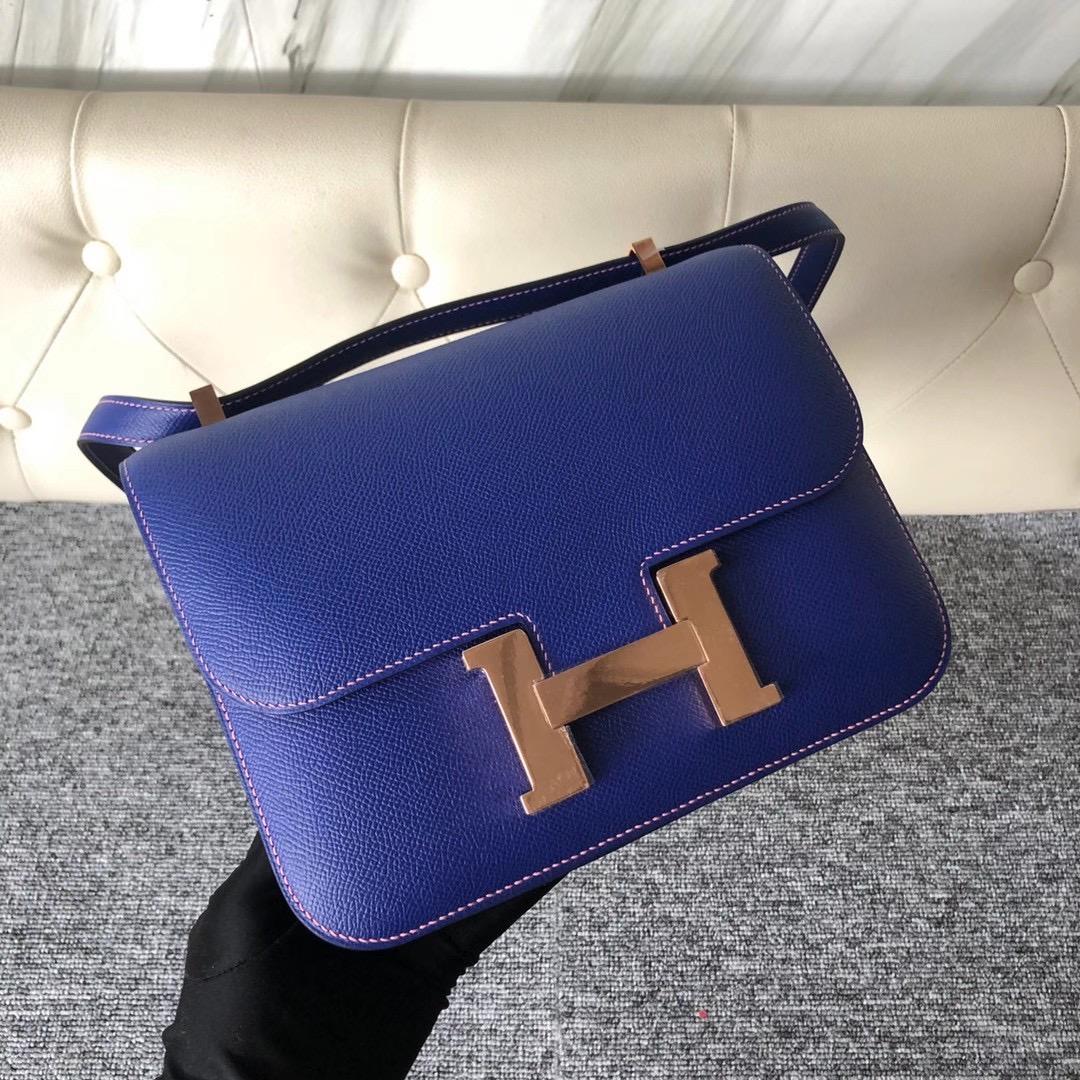 Hermes Constance 24cm Epsom 7T Blue electric內拼1Q Rose Confetti