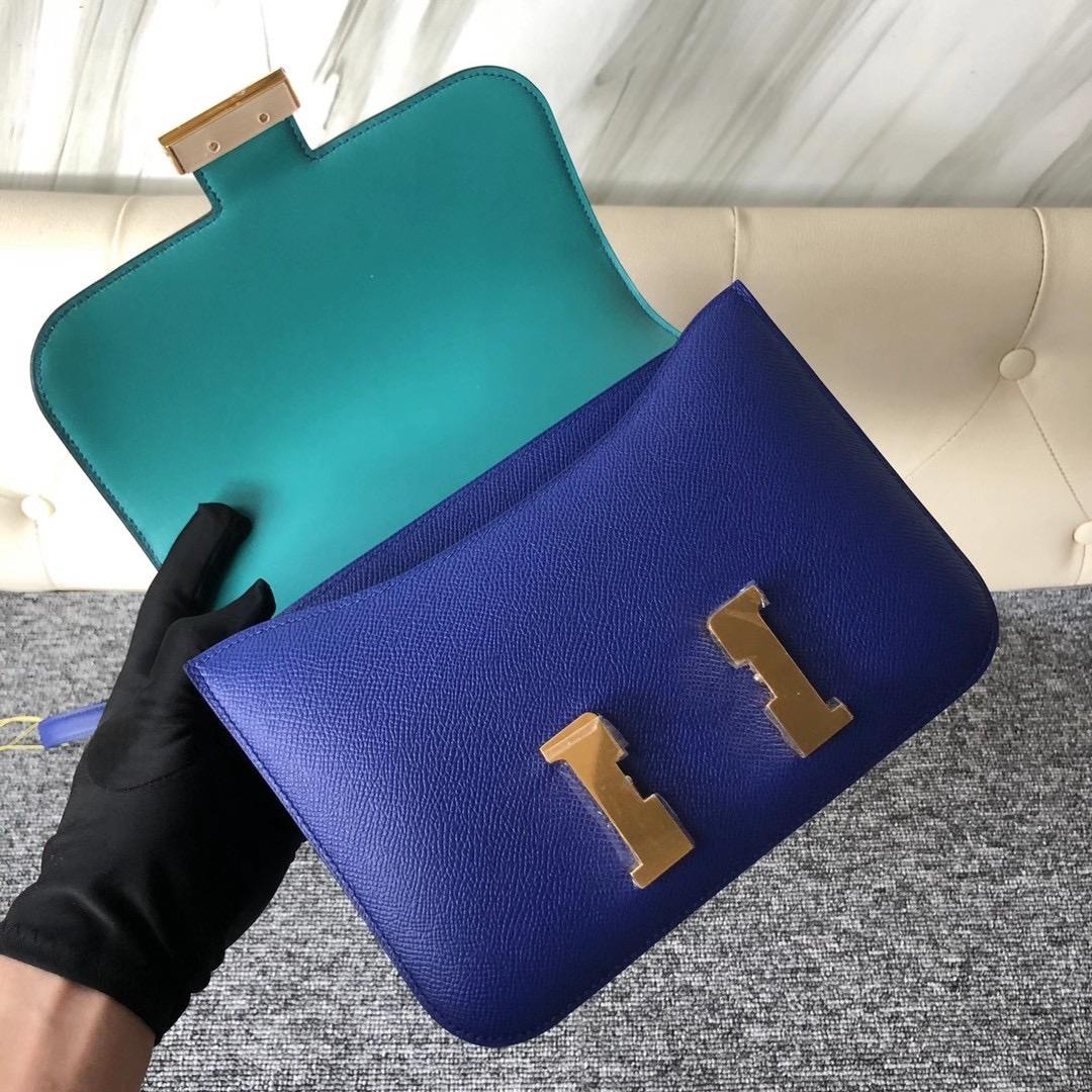 臺灣新北市林口區 Hermes Constance 24cm Epsom 7T Blue electric 7F Blue Paon