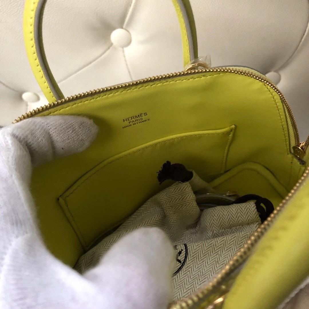 臺北市大同區愛馬仕多少錢 Hermes Bolide 1923 mini bag 9R Lime 檸檬黃