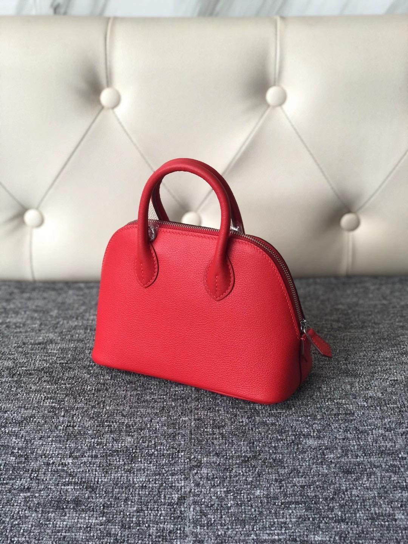 Hermes Bolide 1923 mini bag Evercolor S3 Rose de coeur 內拼 P3 Blue de nord