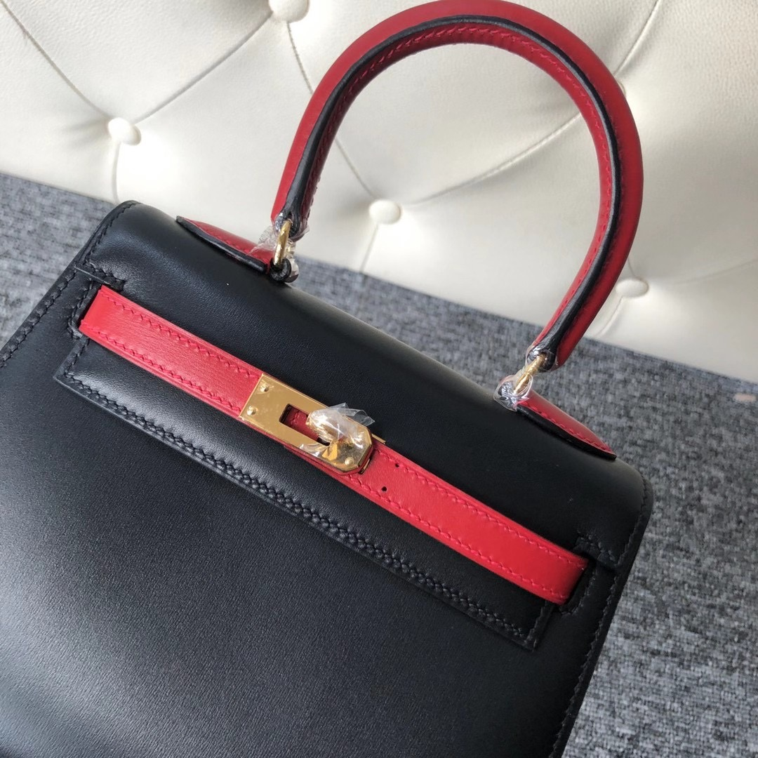 Taiwan Hermes kelly 20cm 大耳朵 BOX 89 Noir 拼色 Q5 Rose casaque 國旗紅