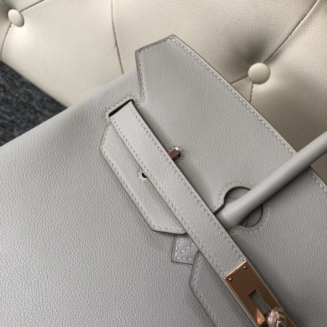 Taiwan Hermes Handbag Birkin 35cm Evercolor 80 Gris Perle 珍珠灰