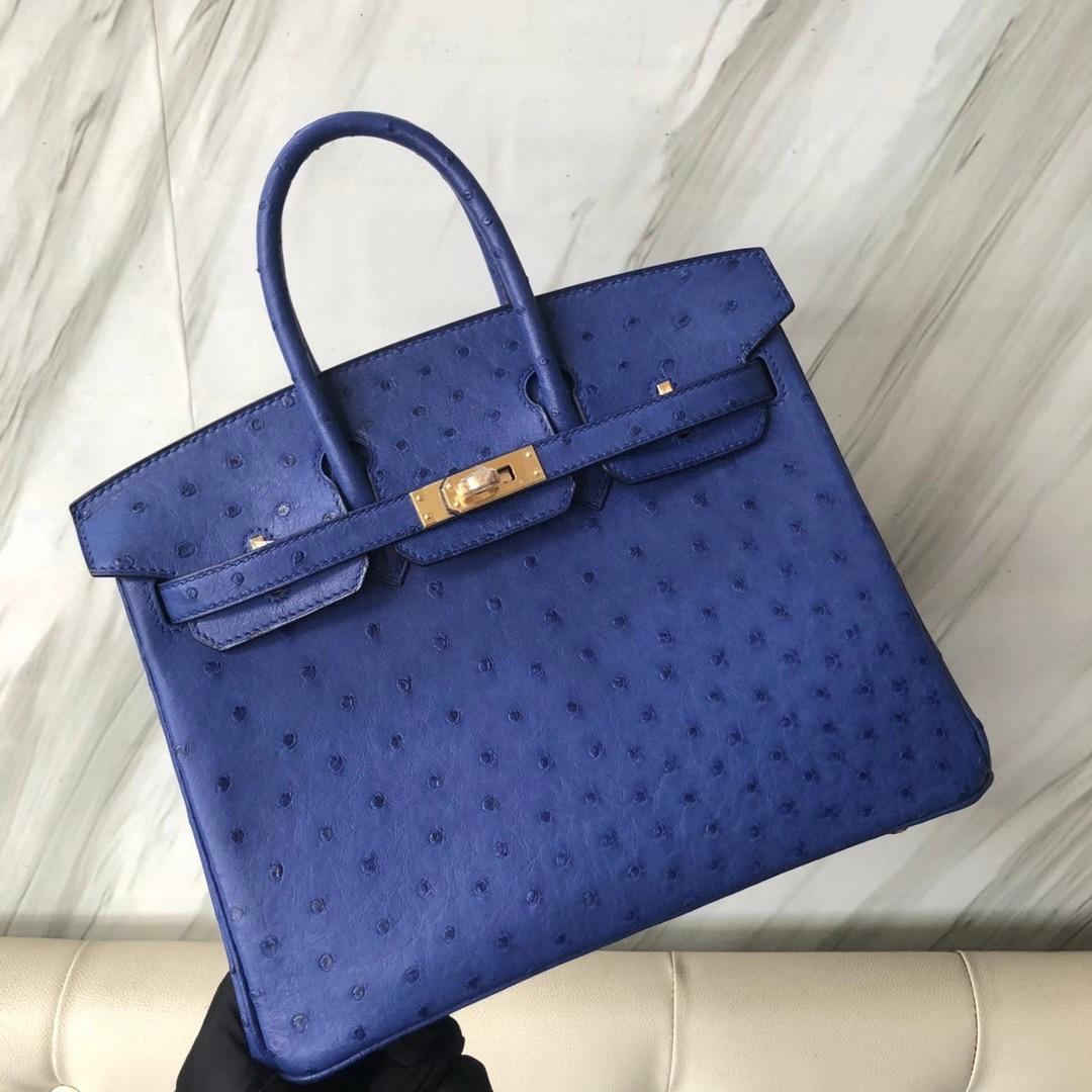 愛馬仕鉑金包有哪幾種尺寸 Taiwan Hermes Birkin 25cm Ostrich 7T Blue electric 電光藍