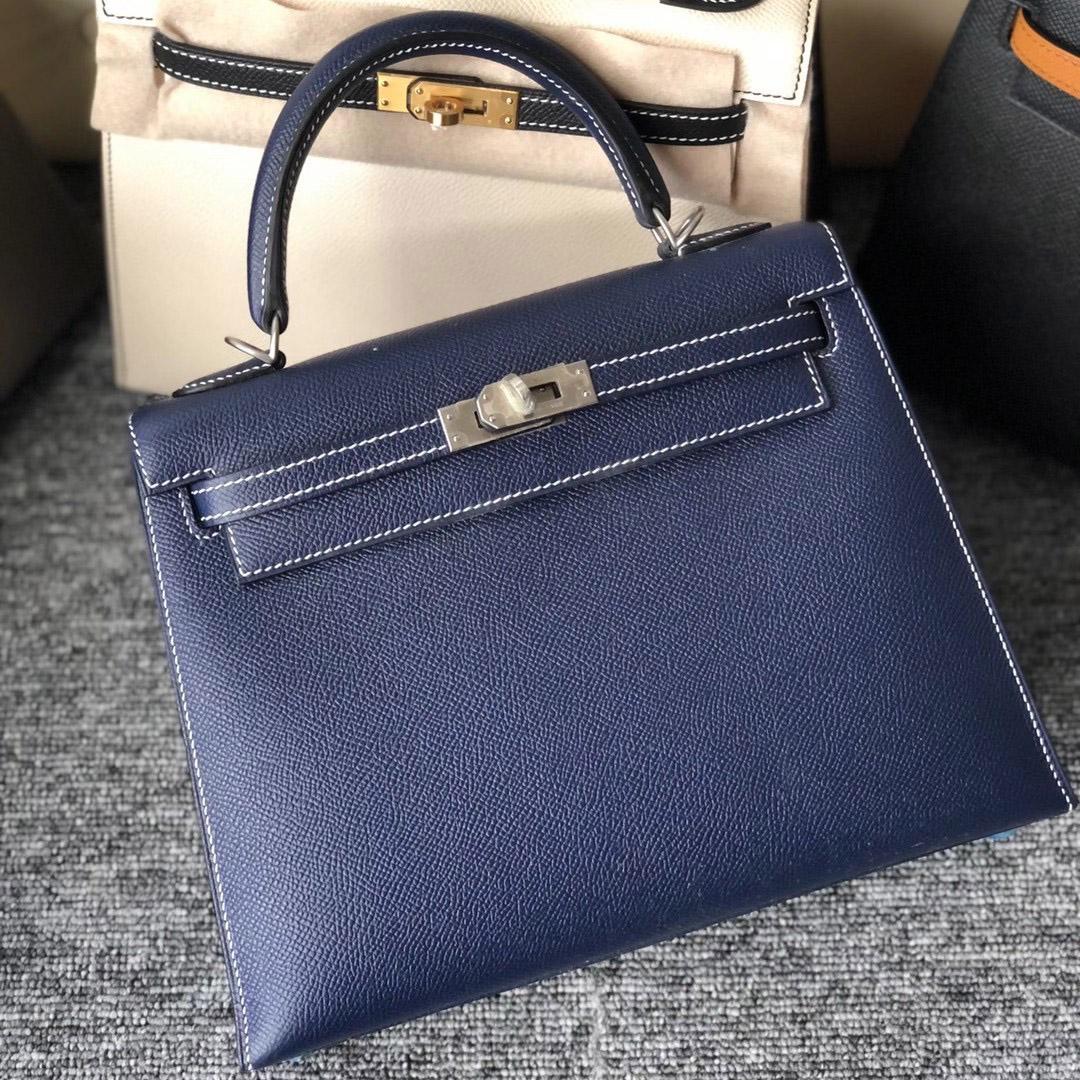 Taiwan Hermes Kelly 25cm Epsom 73 Blue Sapphire 寶石藍 缝白色線