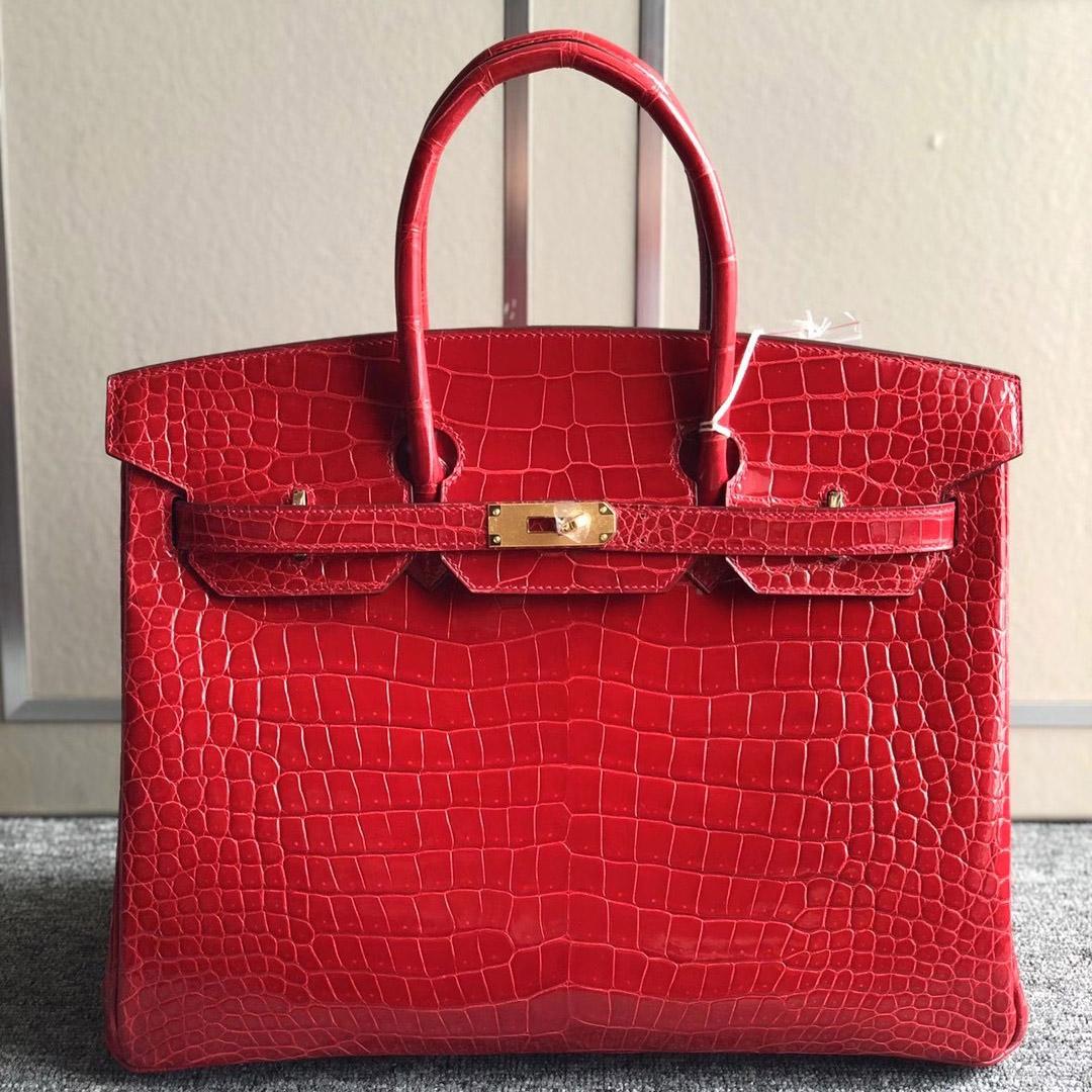 愛馬仕鉑金包定制價格 Hermes Birkin 35cm 95 Braise 法拉利紅 Porosus Crocodile