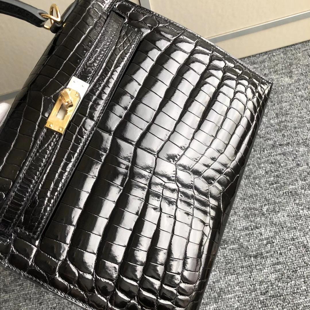 臺灣新北市蘆洲區愛馬仕 Hermes Kelly 25cm Ck89 noir 供珠亮面尼羅鱷魚