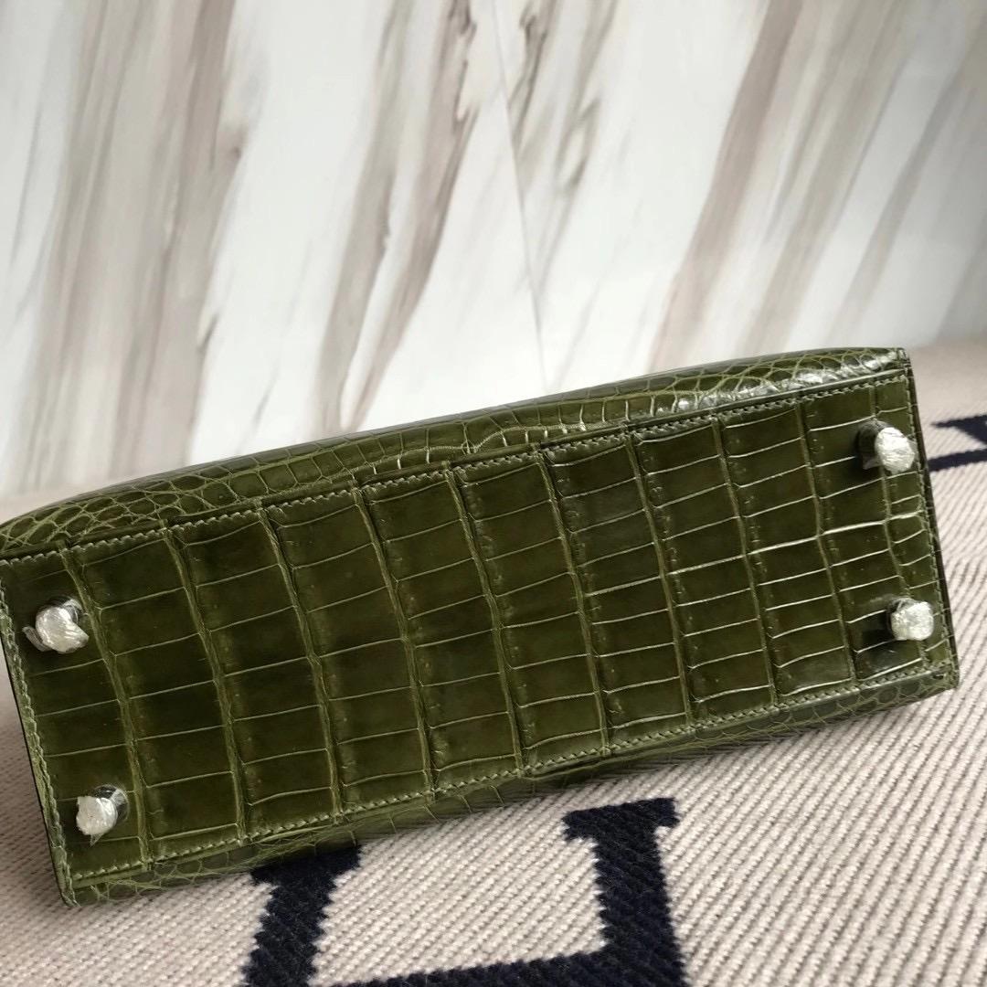 新北市淡水區愛馬仕包包 Hermes Kelly 25cm 6H Olive green 橄欖綠 尼羅鱷魚