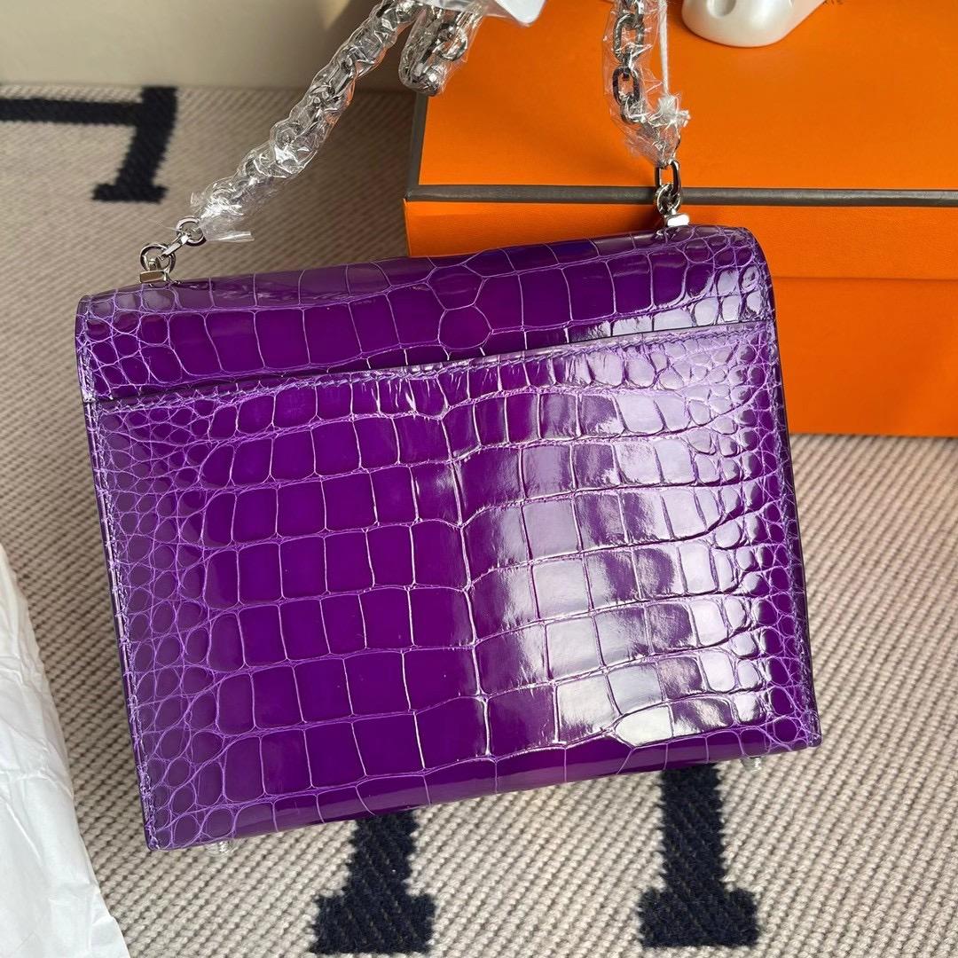 香港北區粉嶺 Hermes Verrou 17.5cm 亮面美洲鱷魚 5L ultraviolet 極度紫