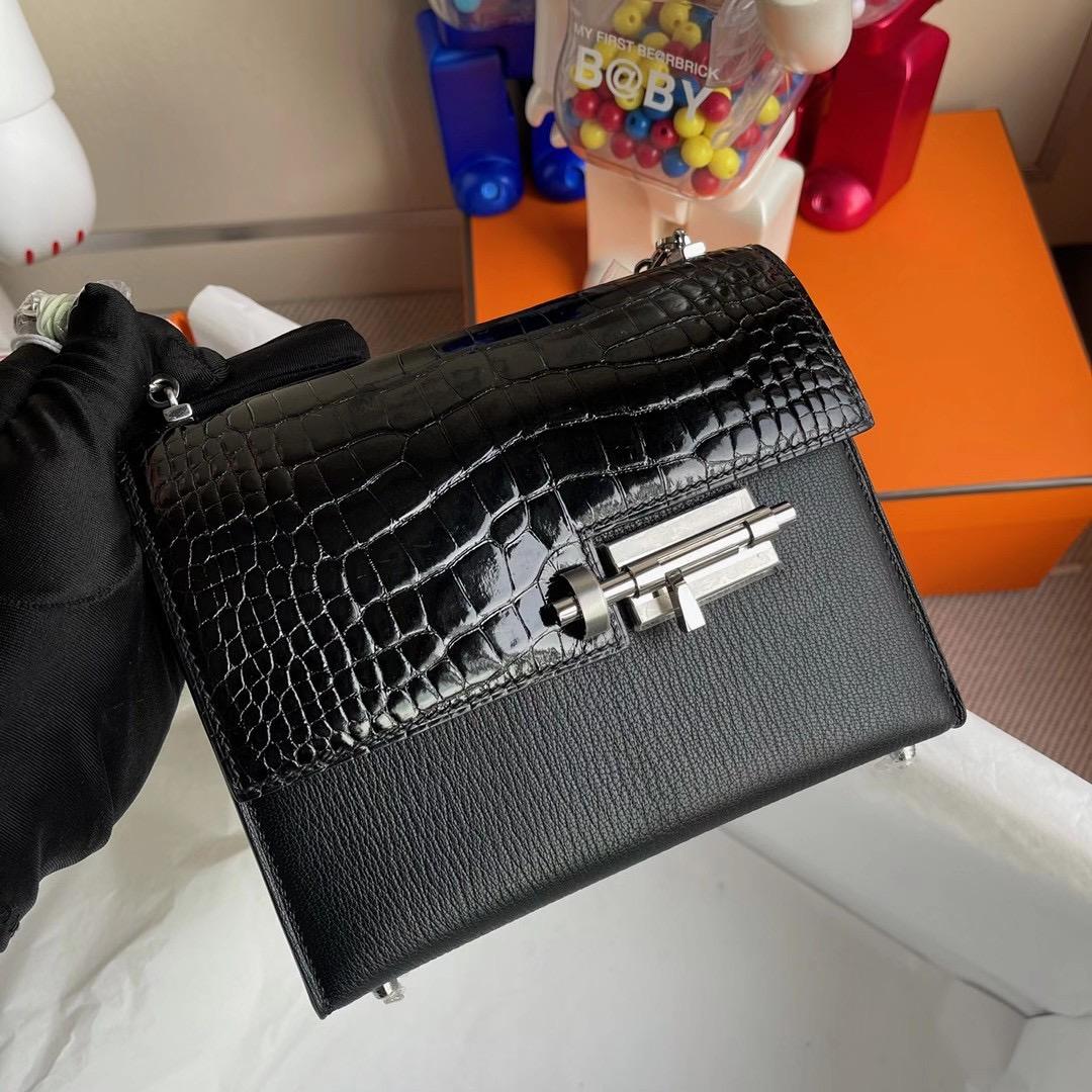 香港元朗區天水圍 Hermes Verrou 17.5cm Touch 亮面美洲鱷魚 山羊皮 CK89 Noir 黑色