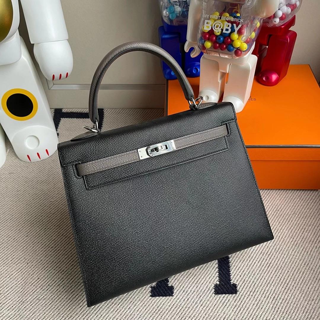 香港東區柴灣 Hermes Kelly 25cm Hss Epsom CC89 黑色 Noir 8F Etain 錫器灰