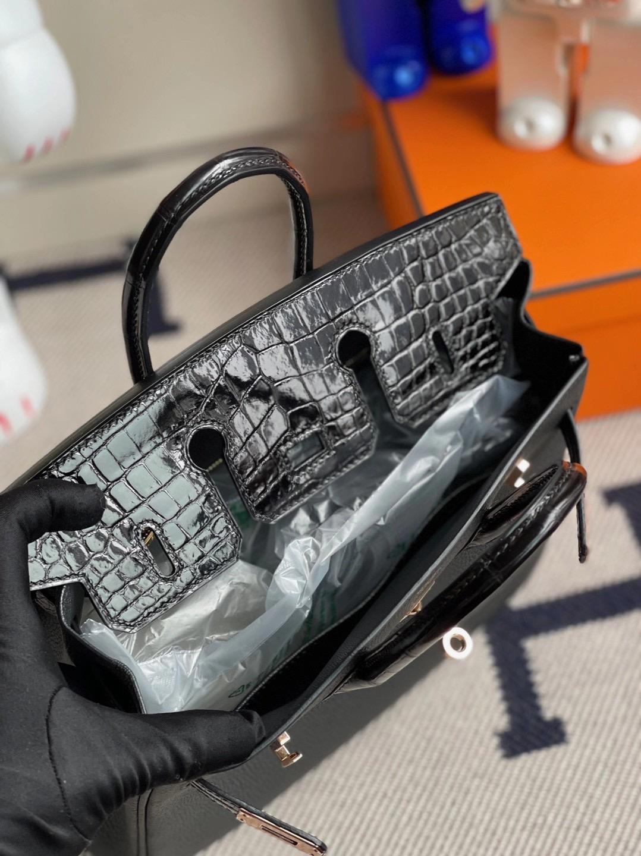 臺灣臺北市大安區 Hermes Birkin 25cm Touch CC89 Noir 黑色 Togo 尼羅鱷魚 玫瑰金扣