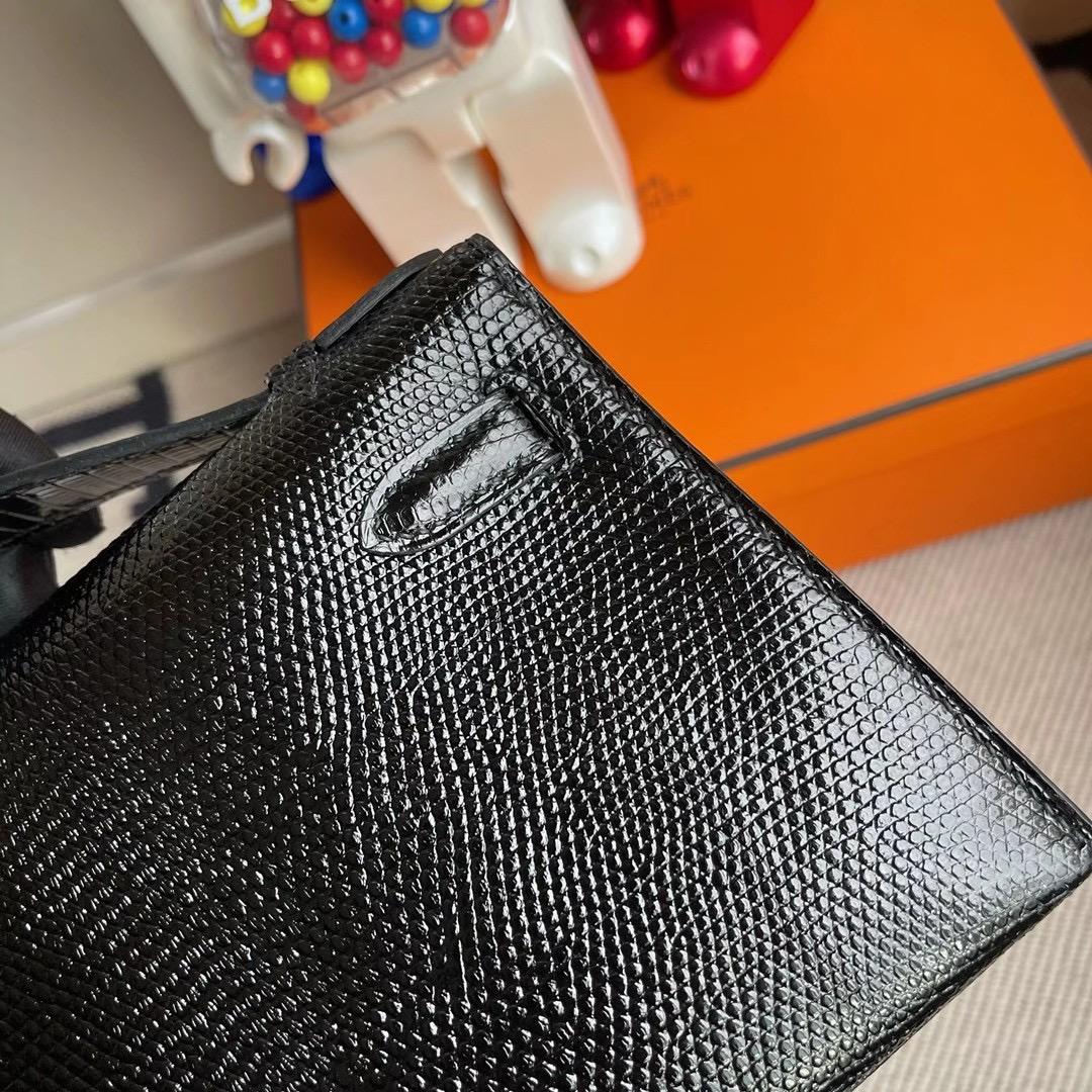 愛馬仕凱莉迷你一代價格多少錢 Hermes MiniKelly Pochette 蜥蜴皮 CC89 Noir 黑色