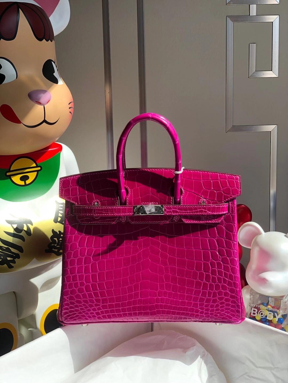 Hong Kong Hermès Birkin 25cm 亮面兩點尼羅鱷魚 J5 Rose Shéhérazade 天方夜譚粉紫