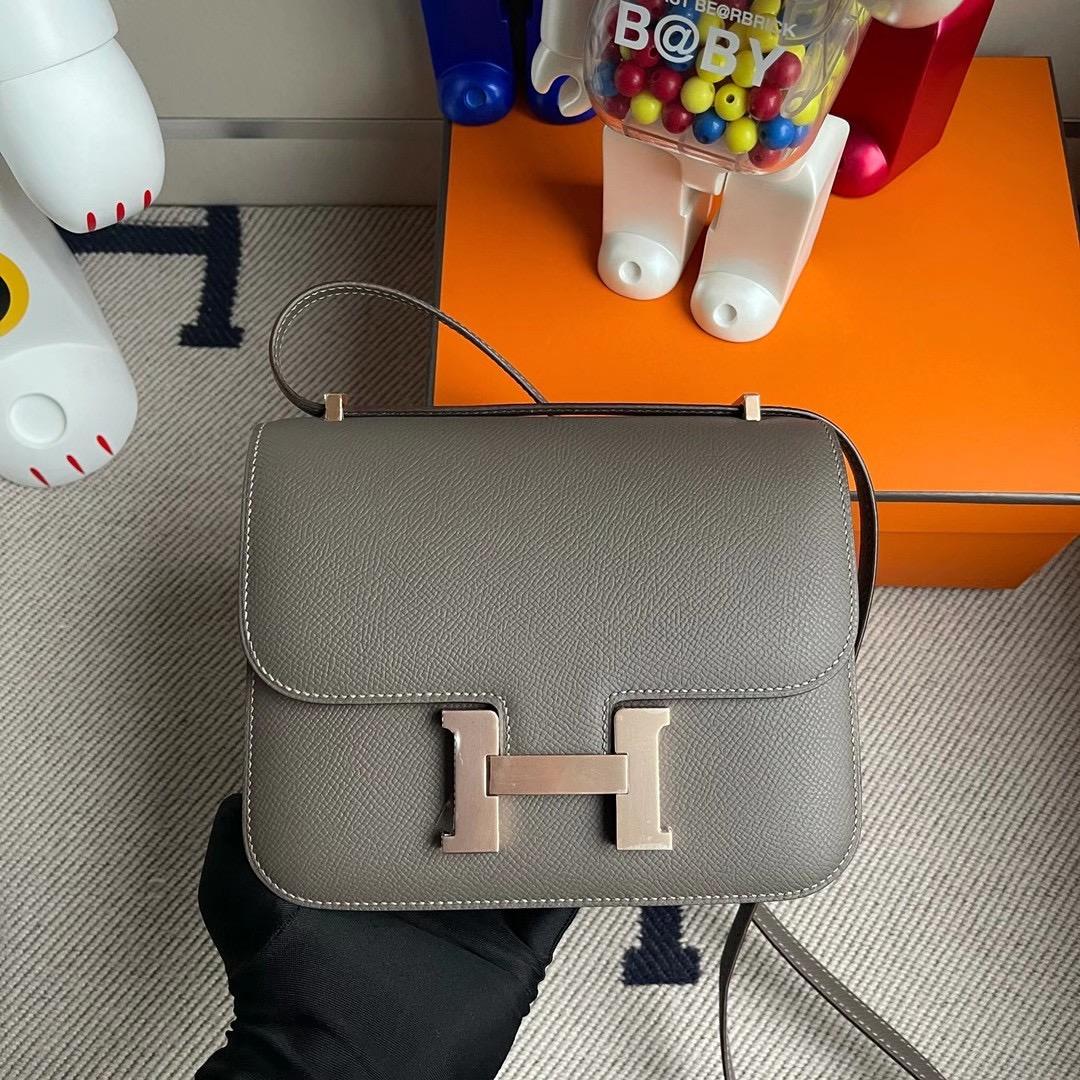 香港元朗區元朗 天水圍 Hermes Constance Mini 19cm Epsom 8F Etain 錫器灰 玫瑰金扣