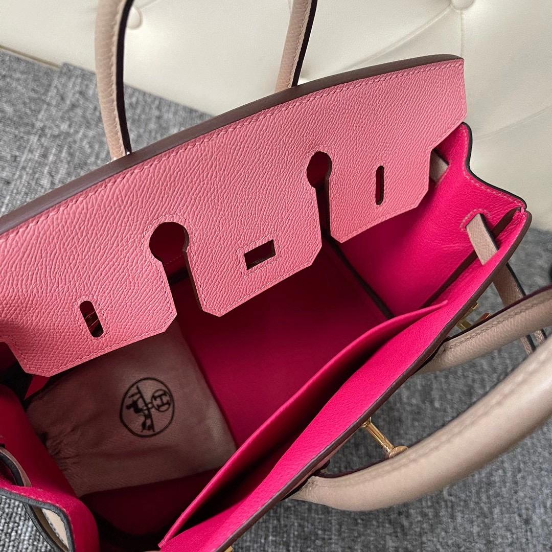 臺灣臺中市 Hermes Birkin 25cm HSS Epsom 1Q Rose Confetti S2 Trench 拉絲金扣