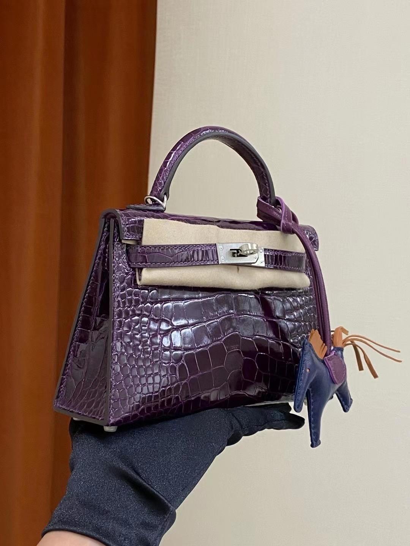 臺中市東區 愛馬仕迷你凱莉二代價格 Hermes Mini kelly II N5 加侖紫 Cassis 美洲鱷魚