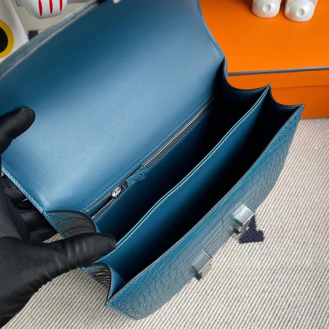 香港南區淺水灣 愛馬仕康斯坦空姐包 Hermes Constance 24cm 美洲鱷魚 1P Blue Colvert 鴨子藍