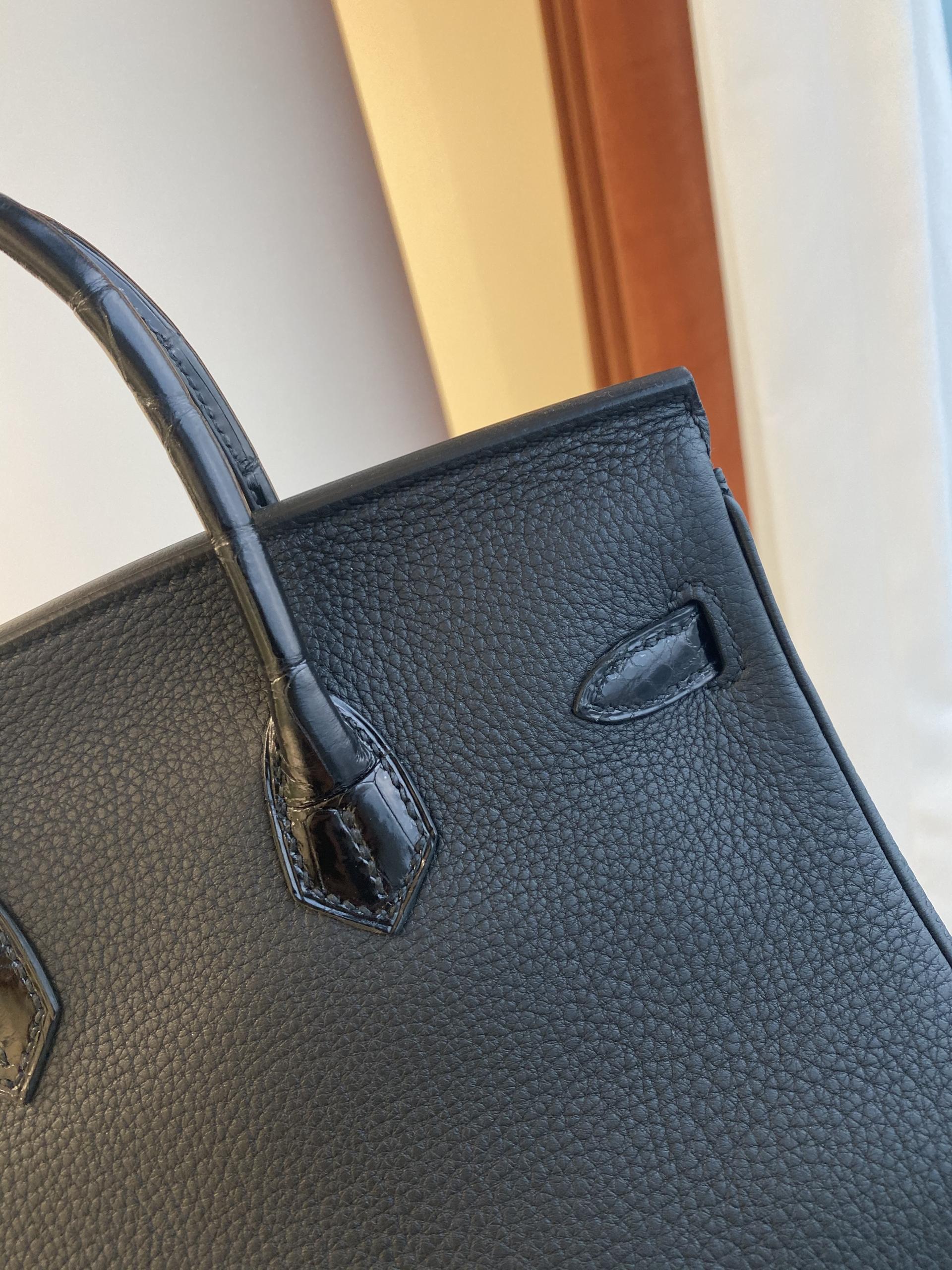 香港島中西區上環Hermes Birkin 25cm Touch CC89 Noir 黑色 Togo 拼 尼羅鱷魚