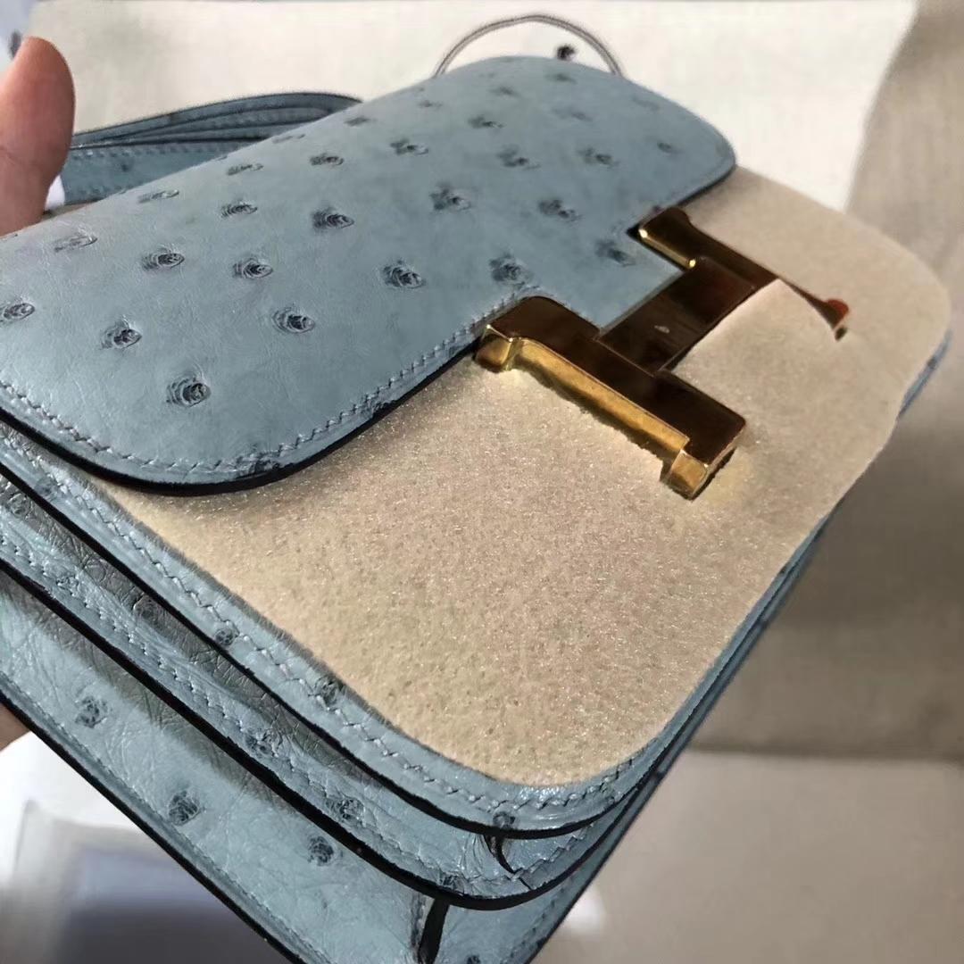 香港島中西區中环 Hermes Constance Mini Ostrich 8U Bleu Glacier Gold hardware