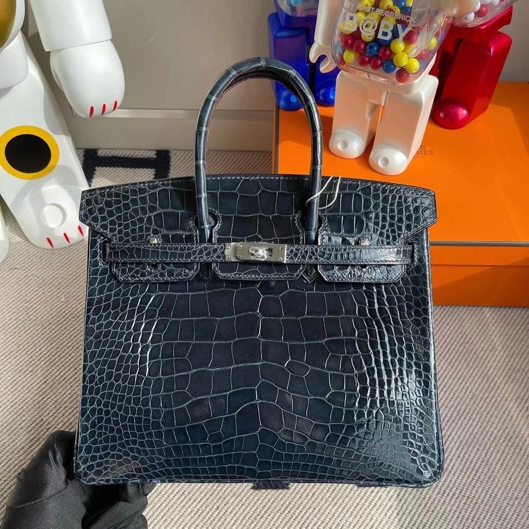 香港島中西區中環 Hermes Birkin 25cm CC76 深海藍 Blue Indigo 美洲鱷魚