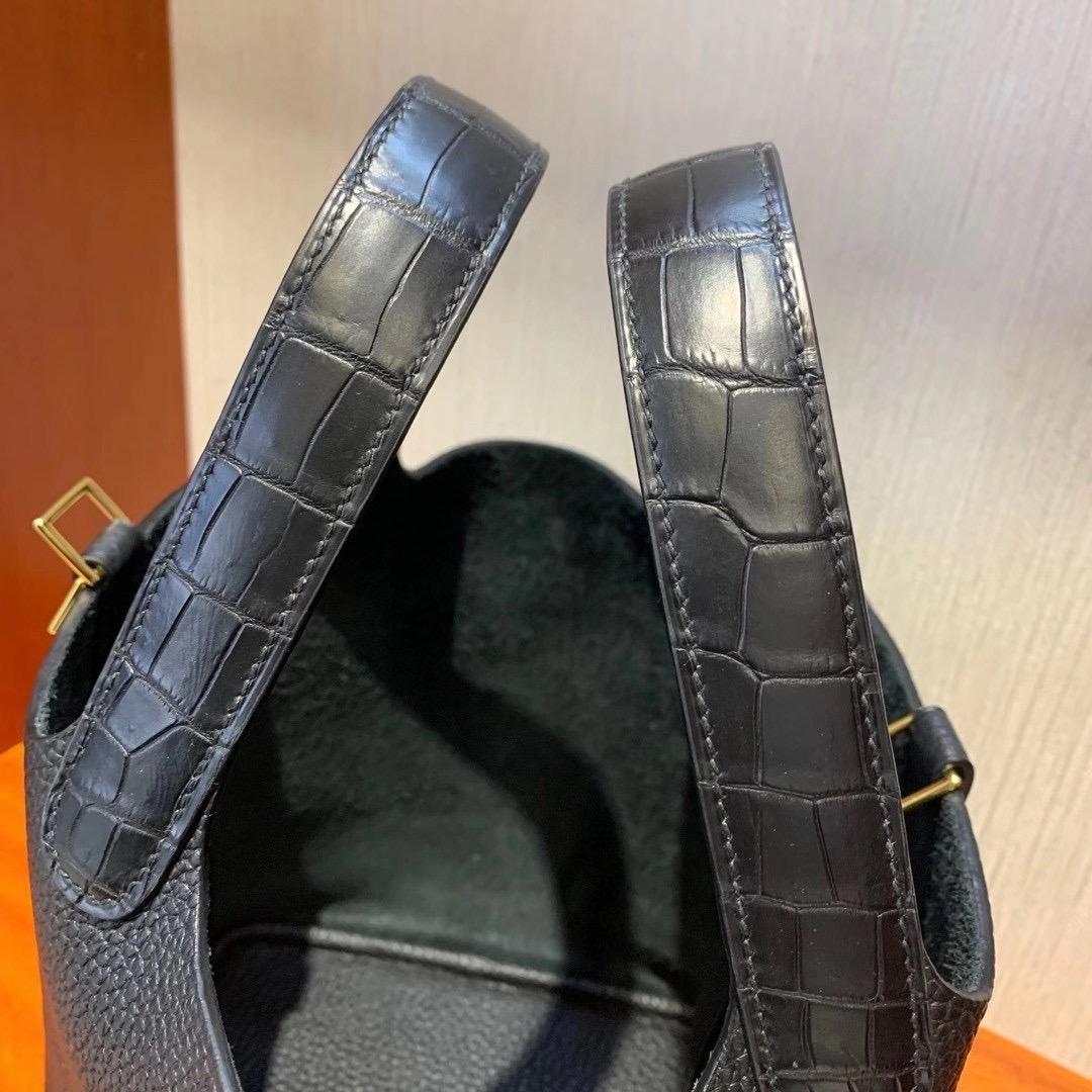 香港島中西區西環 Hermes Picotin Lock 18 Touch Clemence Crocodile CK89 Black GHW