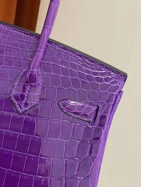 愛馬仕2021年刻印 Z 刻印 愛馬仕鉑金包定制多少錢 Hermes Birkin 30cm 尼羅鱷魚 紫色
