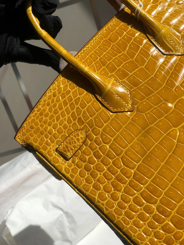 香港東區柴灣 Hermes Birkin 25cm 9D Jaune Amber 琥珀黃 亮面倒V灣鱷供珠