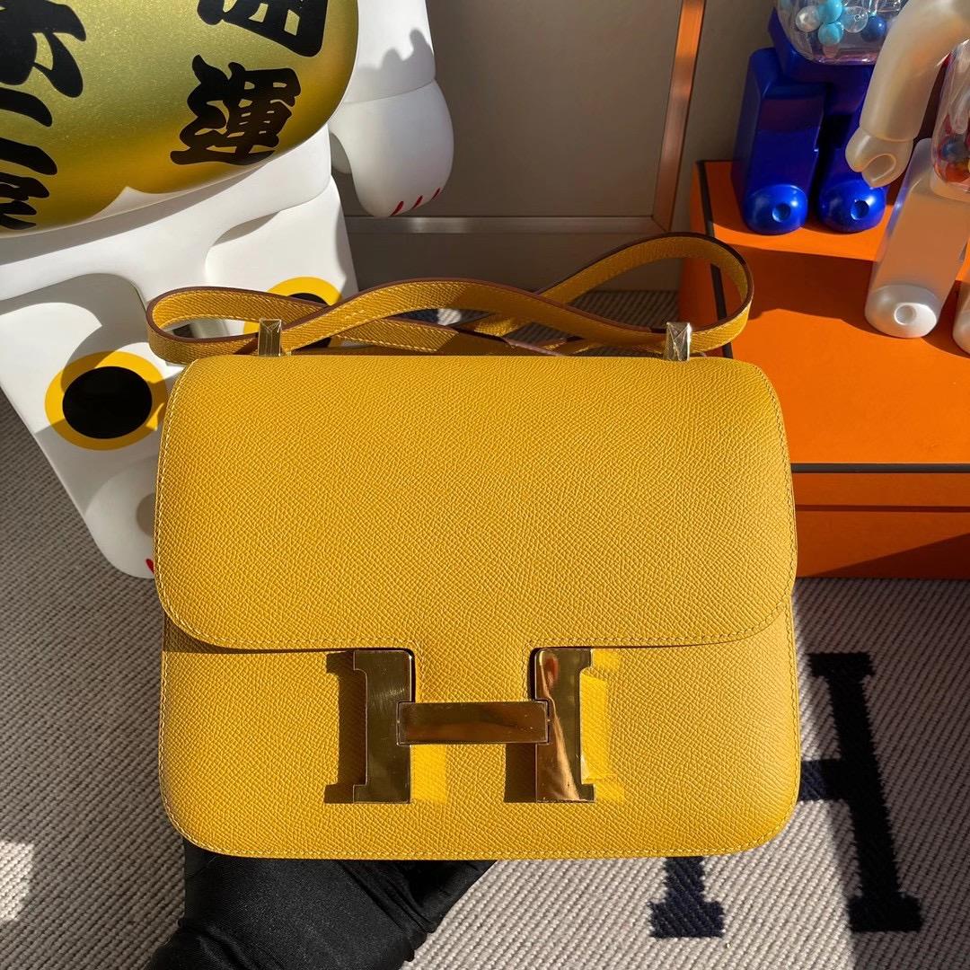 香港東區筲箕灣 愛馬仕康斯坦斯包 Hermes Constance 24 Epsom 9D Jaune Amber 琥珀黃