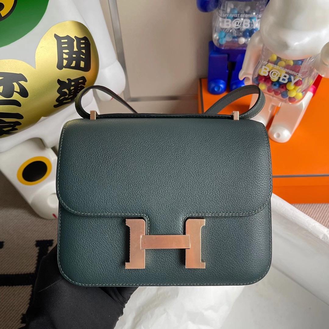 香港南區淺水灣 Hermes Constance 19 Evercolor 6O Vert Cypres 松柏綠 玫瑰金扣