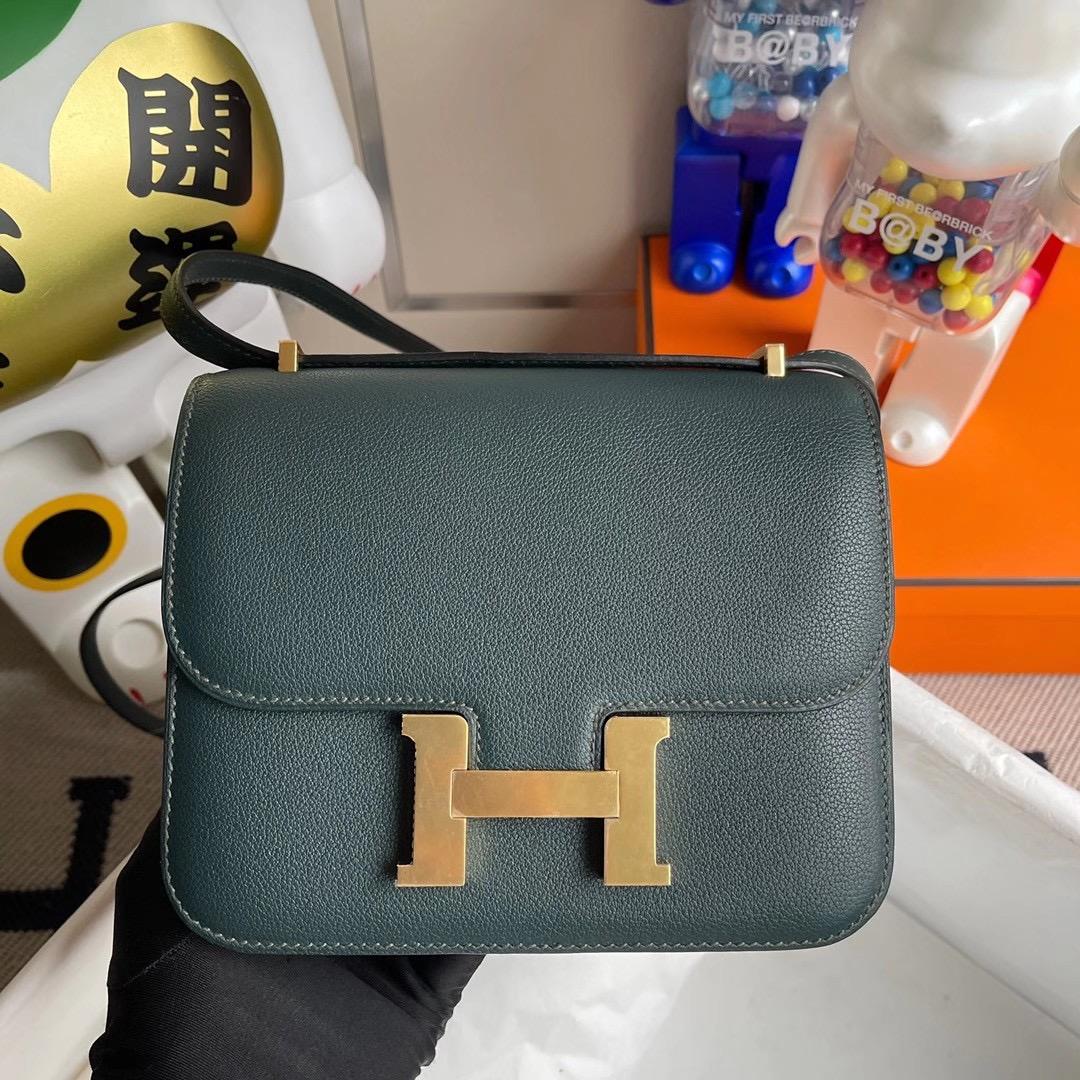 Hermes Constance 19cm Evercolor 6O Vert Cypres 松柏綠 全手工縫製