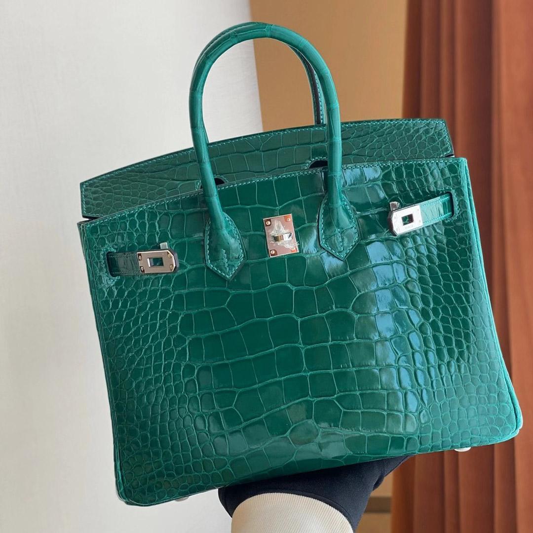 香港灣仔區跑馬地 愛馬仕鉑金包 Hermes Birkin 25 6Q Vert emeraude 翡翠綠美洲鱷